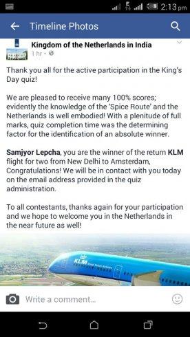 Samjyor wint quiz Nederlandse ambassade!